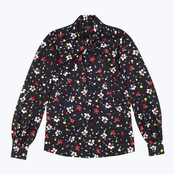 Painted Flower Tie Neck Blouse | Marc Jacobs