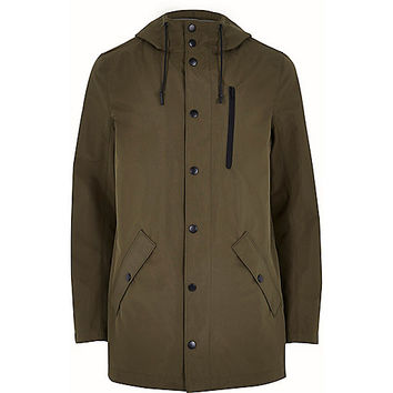 River Island MensKhaki green hooded mid length jacket