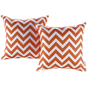 LexMod Modway Two Piece Outdoor Patio Pillow Set in Chevron