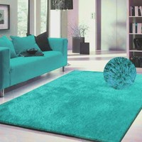 Luxury Viscose Shag Collection Turquoise Shag Area Rug 5'x7' Hand Tufted
