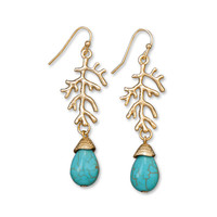 Gold Tone Branch Fashion Earrings with Magnesite Drops