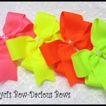 Tails Down Neon Collection Hair Bows, You choose the size, school bows, neon bows, hair bows, Cheer Bows, toddler, International Shipping