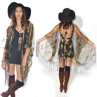 Sheer Lace Sequins Fringe Cocktail Party Kimono Jacket in 4 Colors