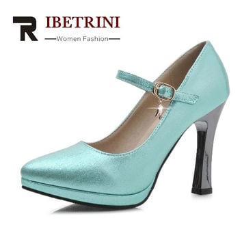 RIBETRINI Women Mary Jane Pumps Party Wedding Shoes British Pointed Toe High Heels Spring Summer Autumn Shoes Platform Pumps