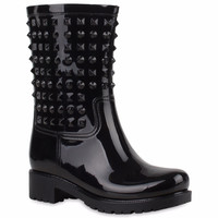 2016 Rivets Type Women's Waterproof Rainboots Ladies Mid-Calf Rain Boots Fashion Style Flat Heels Water Shoes botas lluvia mujer