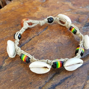 Hemp Anklet, Good Vibes, Cowrie Shells, Gift for Her, Hemp Jewelry, Handmade,  Rasta Anklet, Beach Anklet, Jewelry, Shell Anklet, Rasta