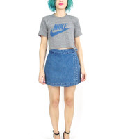 90s Denim Short High Waist Jean Shorts Denim Mini Skirt Wrap Front Preppy Grunge Buckle Shorts (M/L)