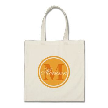 Orange Prestige Monogram Tote Bag