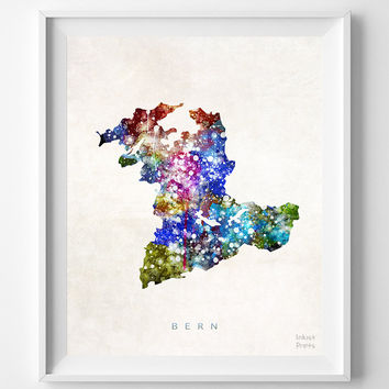 Bern, Switzerland, Map, Print, Watercolor, Swiss, Europe, Home Town, Poster, Art, Gift, Nursery, Living Room, Painting, World [NO 1247]