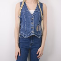 Vintage Denim Jean Plaid Vest