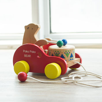 Early Childhood Education Car Toys Dragging Bear Children Knock on Wood Drummer Baby Crawling Toddler Wooden Musical Toy