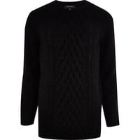 River Island MensBlack fluffy cable knit sweater