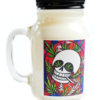 Eternal High Marijuana Scented Skull Day of the Dead 20oz Glass Mug Jar Soy Candle
