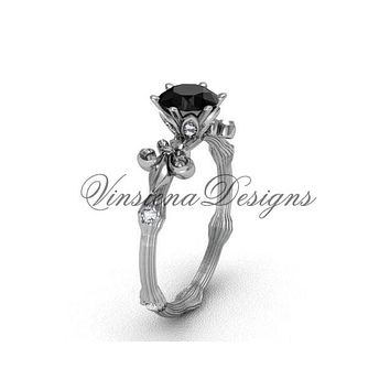14k white gold diamond leaf and vine, enhanced Black Diamond engagement ring VD20838