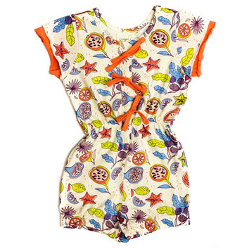 Organic Tropical Fruit Print Elastic Waist Jumpsuit