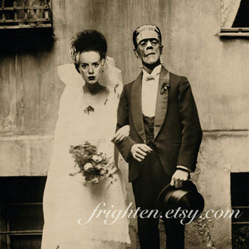 Halloween Decor, Frankenstein Mixed Media Collage Print, Bride and Groom, Halloween Wall Art