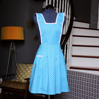 Blue Retro Apron, Aprons for Women,  Polka Dot, Women Aprons, Aprons for Sale, Womens Aprons, Aprons with Pocket