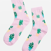 Cactus Glittery Ankle Socks | Topshop
