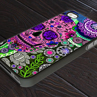 Day of The Dead - Flower Sugar Skull - Paisley Pattern - Print On Hard Cover - For iPhone 4, 4S, and iPhone 5 Case - Black, Clear, and White