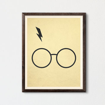 Harry Potter Glasses and Lightning Bolt, Harry Potter Printable Poster, Fan Art Gift, Geekery Art Decor Print, Harry Potter Print, Geek Art
