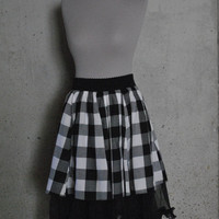 Black and White Gingham skirt with Toulle Ruffle Underlay
