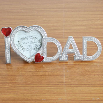 Fashion Crystal I Love Dad Heart Home Decor Photo Frame Picture Alloy Metal 3''