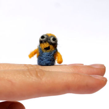 Needle felted tiny Minion, soft sculpture, made to order, miniature, mini
