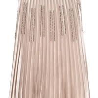 Pleated skirt - Light beige/sparkly - Ladies | H&M GB