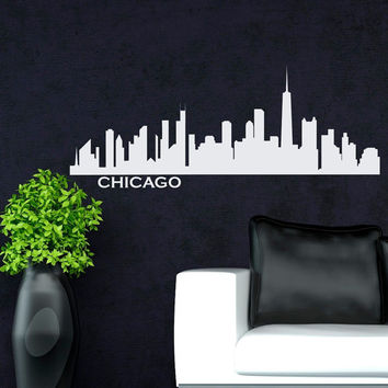 Wall Decals Vinyl Stickers Chicago City Skyline Silhouette  Home Decor for Living Room, Decal for Office C028