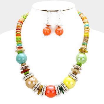 Chunky Multi-Color & Silver Bead wood disc cluster bib necklace and earring set