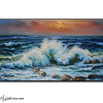Oil Painting Original Art, Landscape Painting Seascape Painting, Large Wall Art Canvas Painting Ocean Art Horizontal Painting