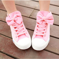 FASHION DESIGNER — A 082606 aaa High Help Lovely Bowknot Canvas Shoes