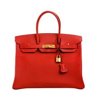 Hermes Rouge Casaque Epsom Birkin 35cm with Gold Hardware