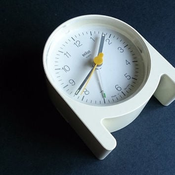 A rare white Braun AB 2 quartz alarm clock, by Dieter Rams and Jurgen Greubel, 1984