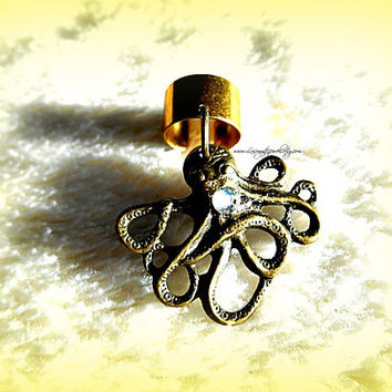 Baby Octopus Ear Cuff Nautical, Steampunk, Beach Wear, Ready to Ship