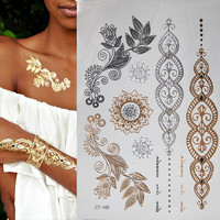 1pcs New Metallic Gold Silver Body Art Temporary Tattoo Sexy Non-Toxic Flash Tattoos Sticker For Women tattoo