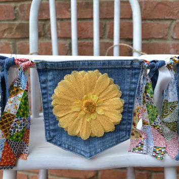 denim high chair banner, yellow flower, patchwork and denim fabric, upcycled denim,1st  birthday decor, cake smash decor