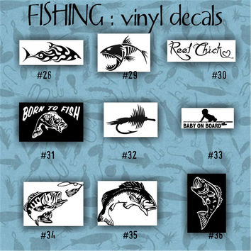 FISHING vinyl decals - 28-36 - car decal - vinyl sticker - laptop decal - stickers - fish - fishing boat - fisherman - custom vinyl decal