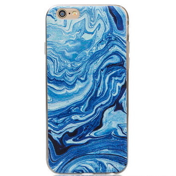 Natural Blue Marble Grain iPhone 5s 6 6s Plus creative case Gift-129