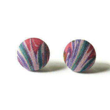 Abstract Print Purple Pink Green Covered Fabric Button Earrings