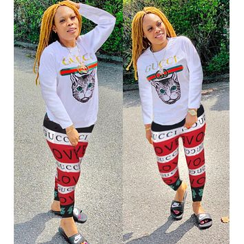 GUCCI Autumn Fashion Women Casual Print Top Sweater Pants Trousers Set Two-Piece Sportswear