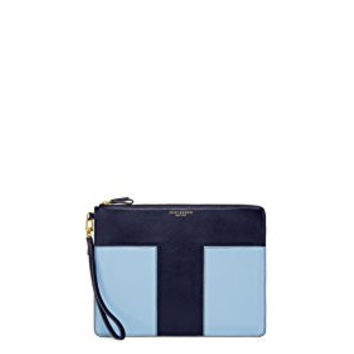 Tory Burch Block-T Large Zip Leather Pouch Wristlet