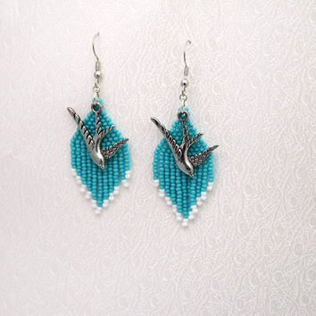 Blue Beaded Dangle Earrings With Dove Charms