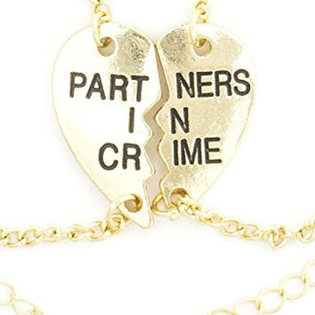 Partners in Crime Bracelet Set Best Friends BFF Gold Tone Heart Pieces BC54 Fashion Jewelry