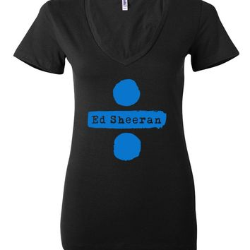 "Ed Sheeran ""Ed Sheeran & Divide Logos"" Women's V-Neck T-Shirt"