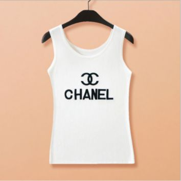 Chanel:The new loose silk vest suspenders Monogram embroidery jacket knitted lining female Korean cultivating base