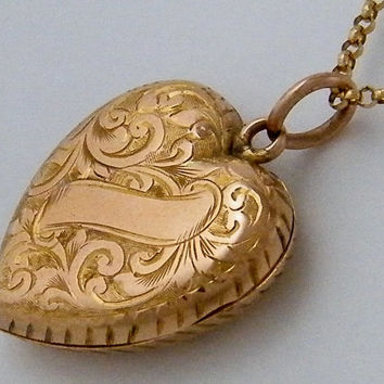 "1903 9K ""Eternal Love"" Antique Rose Gold Locket Necklace Edwardian Flower Heart Chester Wedding Anniversary Gift Jewelry"
