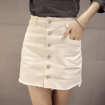 Fashion  High Waist  Show thin Denim Skirt