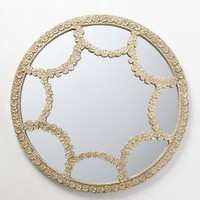 Floral Lace Mirror by Anthropologie White One Size Wall Decor