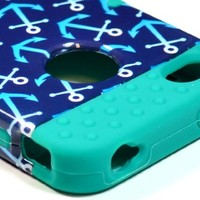 Bastex Heavy Duty Hybrid Case for iPhone 4, 4S, 4th Generation - Teal Silicone / Blue Anchors Design Hard Shell